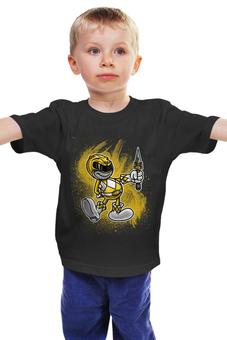 """Детская футболка классическая унисекс """"Желтый Рейнджер"""" - самурай, могучие рейнджеры, токусацу, желтый рейнджер"""