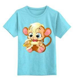 """Детская футболка классическая унисекс """"Обезьянка"""" - обезьяна, банан"""