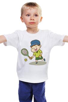 """Детская футболка классическая унисекс """"Юный теннисист"""" - рисунок, детский, теннис, спортивный, теннисист"""