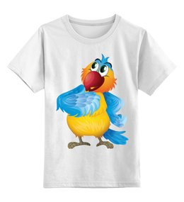 """Детская футболка классическая унисекс """"Попугай Кеша"""" - птицы, попугай, рисунок, детский, какаду"""