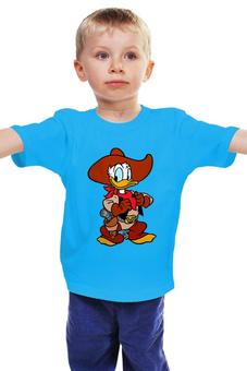 """Детская футболка классическая унисекс """"Утенок"""" - ковбой, ковбой бак, ковбой лак"""