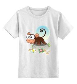 """Детская футболка классическая унисекс """"Любопытная мартышка"""" - стиль, рисунок, детский, мартышка, обезьяна"""