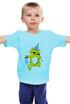 """Детская футболка классическая унисекс """"С Днем рождения!"""" - праздник, кот, бант, cat, подарок, именины, ребенок, котики, деньрождения, колпак"""