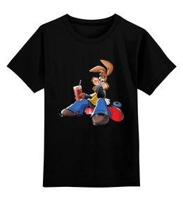 """Детская футболка классическая унисекс """"Кролик"""" - скейт, несквик, заяц"""