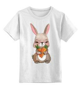 """Детская футболка классическая унисекс """"Кролик"""" - заяц, кролик, морковка"""