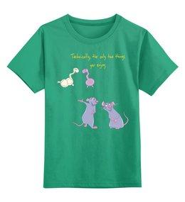 """Детская футболка классическая унисекс """"Юному биохимику"""" - счастье, английский, крыса, биохимия, biochemistry"""