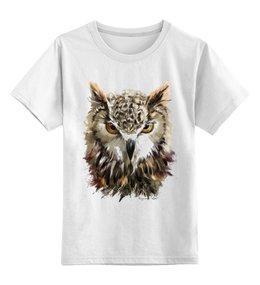 """Детская футболка классическая унисекс """"Мудрая сова"""" - рисунок, птицы, природа, сова"""