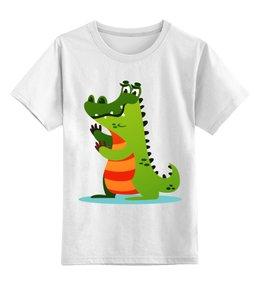 """Детская футболка классическая унисекс """"Крокодил Гена"""" - животные, рисунок, детский, крокодил, мультфильм"""