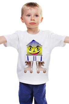 """Детская футболка классическая унисекс """"Домик на роликах."""" - юмор, рожица, домик, улыбка, ролики"""