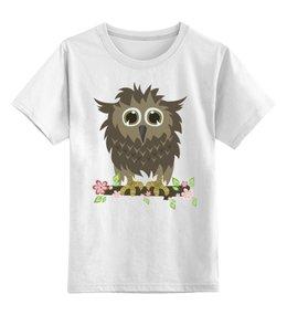 """Детская футболка классическая унисекс """"Сычик"""" - цветы, хищник, глаза, дикий, птица, дети, птицы, природа, сова, животное"""