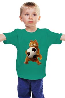 """Детская футболка """"Гарфилд футболист"""" - футбольный мяч, котик с мячом"""