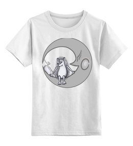 "Детская футболка классическая унисекс ""Ежик на луне"" - одиночество, графика, небо, ежик, луна"