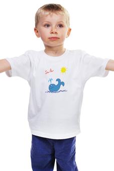 """Детская футболка классическая унисекс """"синий кит"""" - солнце, море, рисунок, кит, ребенок"""