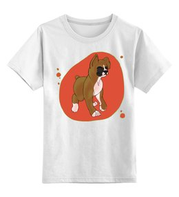 """Детская футболка классическая унисекс """"Boxers puppy"""" - dog, щенок, боксёр, boxer"""