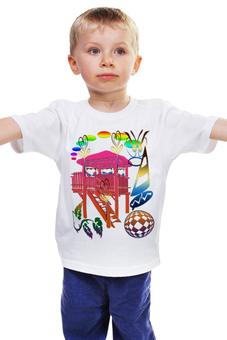 """Детская футболка классическая унисекс """"Мячик и парусник"""" - домик, мяч, корабль, парусник, мячик"""