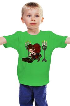 """Детская футболка """"Юный дворянин"""" - книги, свечи"""