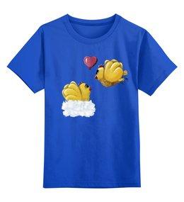 """Детская футболка классическая унисекс """"Цыпочка моя..."""" - прикольные цыплята, майка с цыплятами, детская майка унисекс, влюблённый петушок, цыпочка"""