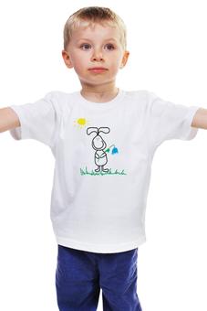 """Детская футболка классическая унисекс """"зайчонок"""" - авторские майки, цветок, солнце, рисунок, заяц"""