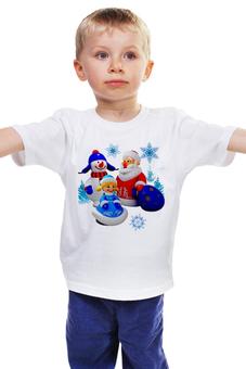 """Детская футболка """"ДЕД МОРОЗ.СНЕГУРОЧКА.НОВЫЙ ГОД.СНЕГОВИК."""" - новый год, дед мороз, снегурочка, снеговик, снежинка"""