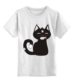 """Детская футболка классическая унисекс """"Котенок-охотник, футболка детская."""" - кот, арт, авторские майки, котенок, охота"""
