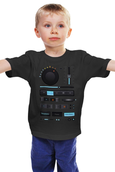 "Детская футболка ""Магнитофон, плеер"" - музыка, dj, music, плеер, beat, звук, стоп, диджей, мажок, мафон"