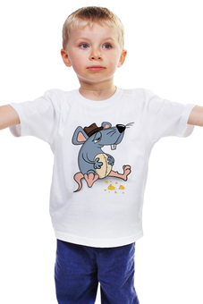 """Детская футболка классическая унисекс """"Сытый мышонок"""" - стиль, мультфильм, рисунок, детский, мышонок"""