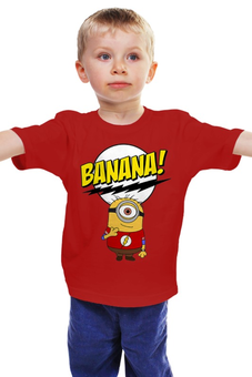 """Детская футболка классическая унисекс """"Миньон Шелдон"""" - шелдон, миньоны, теория большого взрыва, minions, банана"""