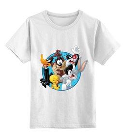 """Детская футболка классическая унисекс """"Весёлые мелодии"""" - мультфильмы, looney tunes, весёлые мелодии, даффи дак, багз банни"""