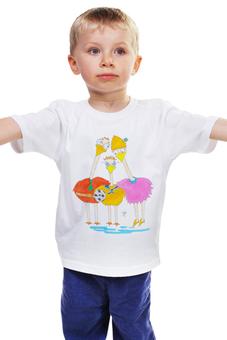 """Детская футболка классическая унисекс """"Родители"""" - футбол, семья, птицы, страусы, родители"""