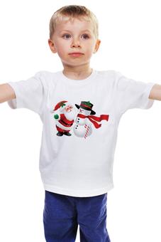 """Детская футболка классическая унисекс """"Новый год"""" - новый год, дед мороз, снеговик, дед"""