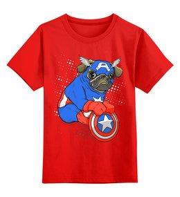 """Детская футболка классическая унисекс """"Captain Pug"""" - собака, сыну, капитан америка, мопс, любителям комиксов"""
