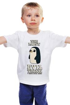 """Детская футболка классическая унисекс """"Пингвин Гюнтер. Время приключений"""" - пингвин, adventure time, время приключений, финн и джейк, гюнтер"""