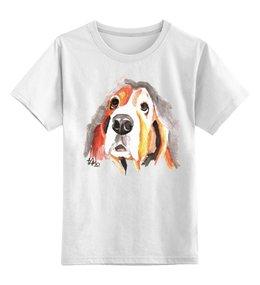 """Детская футболка классическая унисекс """"С собачкой"""" - авторские майки, животные"""