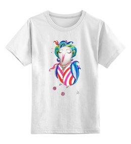 """Детская футболка классическая унисекс """"Птица на роликах"""" - арт, авторские майки, птица, рисунок, иллюстрация"""