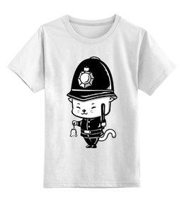 """Детская футболка классическая унисекс """"Кот-полицейский"""" - кот, кошка, мышь, полиция, полицейский"""