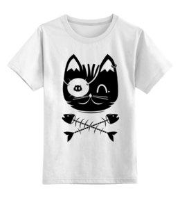 """Детская футболка классическая унисекс """"Кот пират"""" - футболки с котами, футболка кот пират, футболки детские с котятами, прикольные детские футболки"""