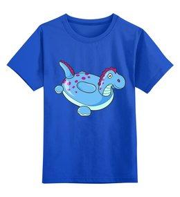 """Детская футболка классическая унисекс """"Динозаврик"""" - лето, море, динозавр, надувная игрушка"""