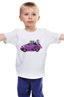 """Детская футболка """"Монстр хай"""" - для девочек, фэнтези, ведьмочка, школа монстров, розовая машина"""