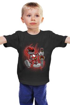 """Детская футболка """"Красный Рейнджер"""" - самурай, могучие рейнджеры, токусацу, красный рейнджер"""