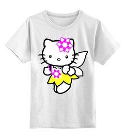 """Детская футболка классическая унисекс """"кот кошка. HELLO KITTY.ЛЮБИМЫЙ ГЕРОЙ МУЛЬТ."""" - кот, kitty, мультфильм, любиый"""