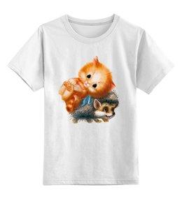 """Детская футболка классическая унисекс """"Киска и Ёжик"""" - ёжик, киска, котик, ежекиска, wax"""