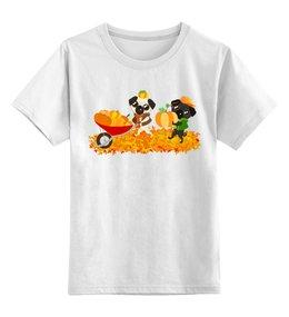"""Детская футболка классическая унисекс """"Мопсы и тыквы"""" - юмор, мопс, осень, тыква, природа"""
