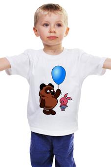 """Детская футболка """"ВИННИ ПУХ с шариком и пятачок .любимые мульт герои"""" - винни пух, рисунок, шарик, пятачок, ммульт"""