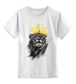 """Детская футболка классическая унисекс """"Король Лев"""" - лев, царь зверей, животные, корона"""