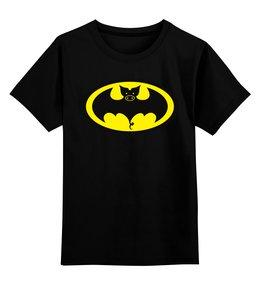 """Детская футболка классическая унисекс """"Свин - Бэтмен"""" - год свиньи"""