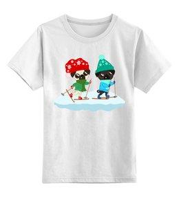 """Детская футболка классическая унисекс """"Мопсы катаются на лыжах"""" - юмор, зима, лыжи, мопс, зимние игры"""