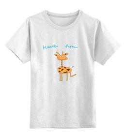 """Детская футболка классическая унисекс """"жираф"""" - жираф, природа, рисунок, рыжий, животные"""