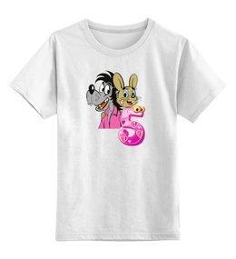 """Детская футболка классическая унисекс """"ну,погоди.заяц и волк.пять-сила .мощ."""" - заяц, волк, ну погоди"""