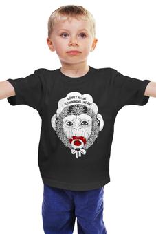 """Детская футболка классическая унисекс """"Обезьяна с соской"""" - символ нового года, 2016, шимпанзе, год обезьяны"""