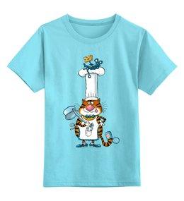 """Детская футболка классическая унисекс """"Повар кот"""" - кот, арт, дети, в подарок, оригинально, мышка, детское, футболка детская, дядя коля воронцов, микола"""